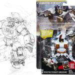 Groove was another piece which ran as a card, and was reused for the packaging art for the Combiner Wars figure.