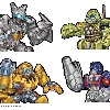 Colored final art (over Roger Andrews pencils) for Robot Heroes series Jazz, Ratchet, Bumblebee and Optimus prime toys